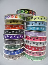 Bright Green  with White Paw Print  Grosgrain or Satin ribbon 2 20 or 25 metres, Double sided 15mm